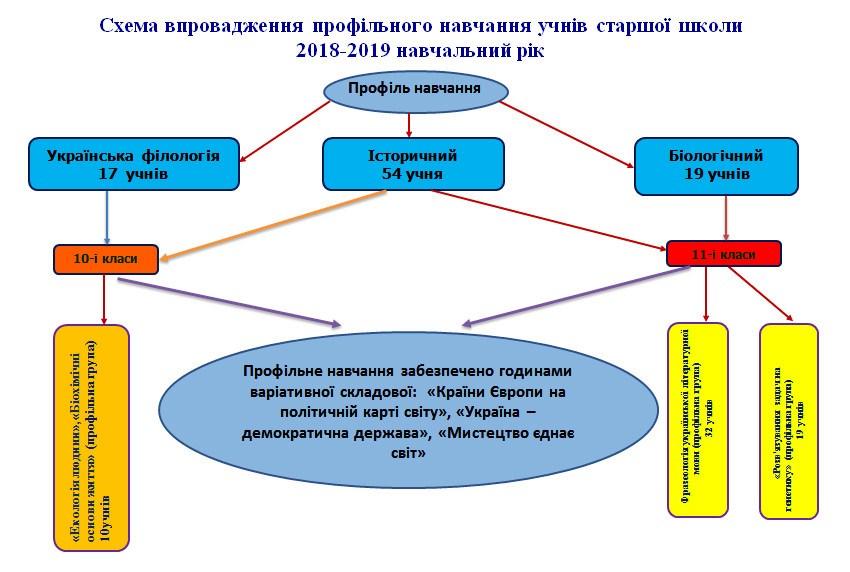Схема впровадження профільного навчання учнів старшої школи 2018-2019 н.р.