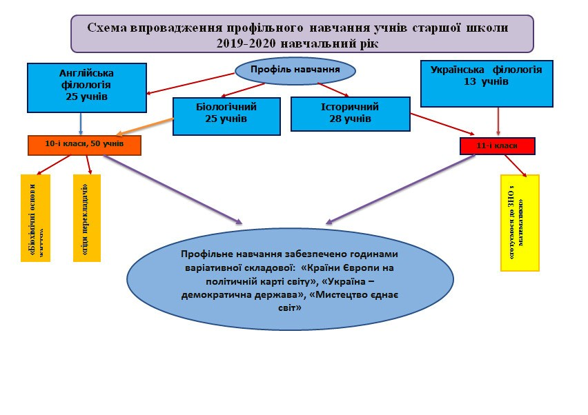 Схема впровадження профільного навчання учнів старшої школи 2019-2020 н.р.