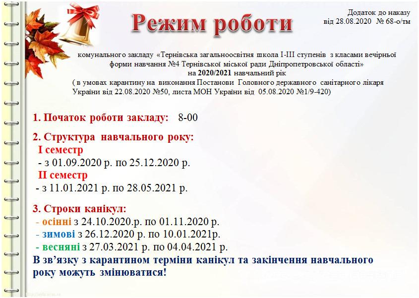 Режим роботи школи 2020-2021 н.р.