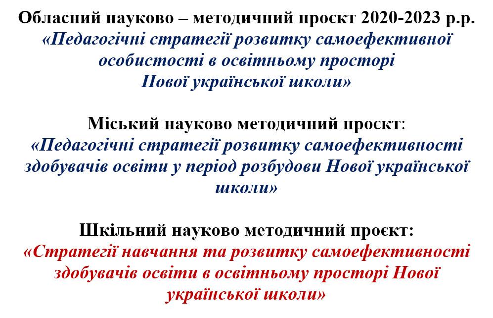 Обласний науково – методичний проєкт 2020-2023 р.р.